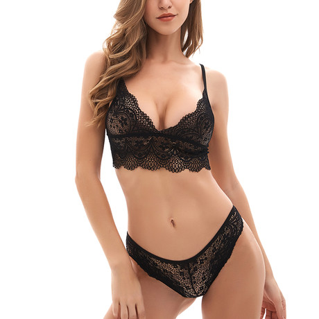 Lace Bralette + Thong Set // Black (S)