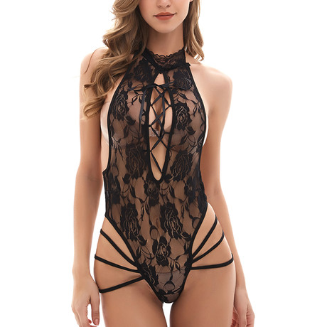 High-Neck Lace Teddy // Black (S)