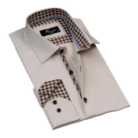 Checkered Reversible Cuff Button-Down Shirt // Cream + Brown (L)