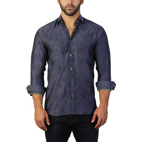 Fibonacci Camo Dress Shirt // Blue (S)