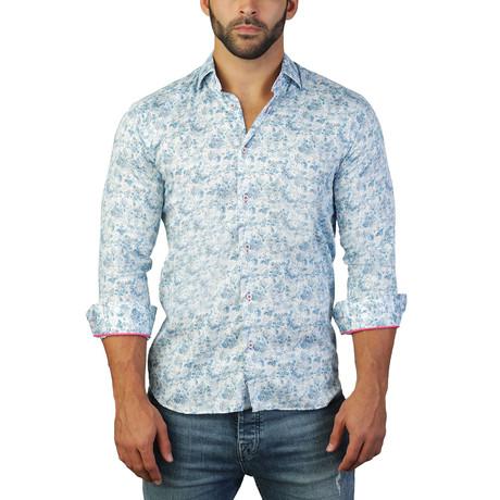 Maceoo // Fibonacci Harmony Paisley Dress Shirt // Blue (S)