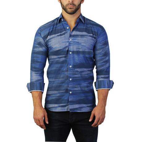 Maceoo // Fibonacci Holes Dress Shirt // Blue (S)