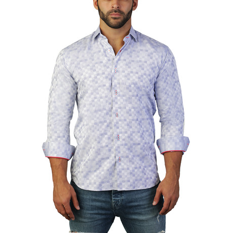 Fibonacci Staircase Dress Shirt // Blue (M)