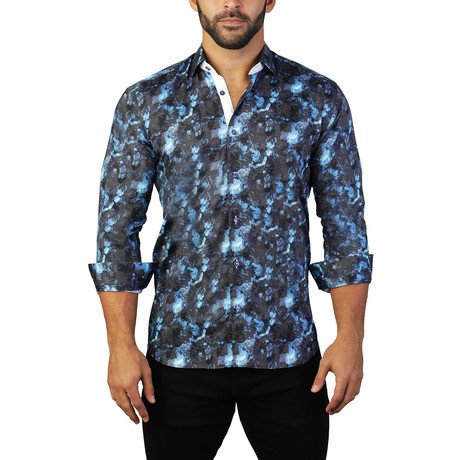 Maceoo // Fibonacci Space Dress Shirt // Blue (S)