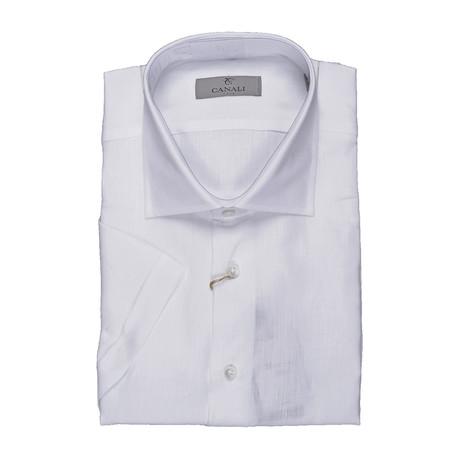 Modern Fit Soild Short Sleeve Shirt // White (US: 43)