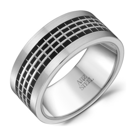 Stainless Steel Aluminum Ring // Silver + Black (Size 8)