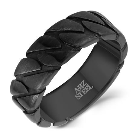 Brushed Gun Metal Chain Style Ring // Black (Size 8)