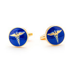 The Rod Of Aesculapius Cufflinks // Blue + Gold