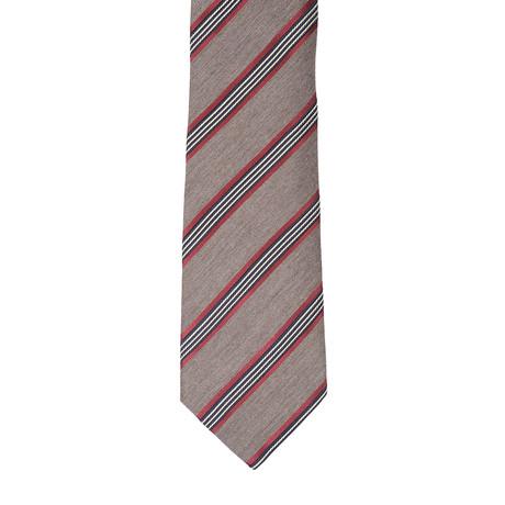 Borelli Napoli // Striped Tie // Light Brown + Burnt Orange