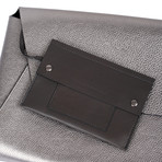 Leather Envelope Clutch // Silver
