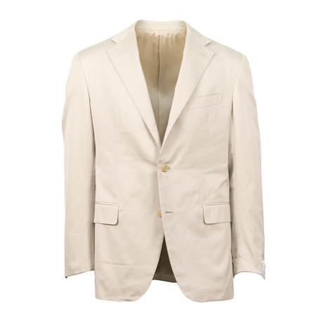 Cotton 3 Roll 2 Button Slim + Trim Fit Suit // Tan (Euro: 44S)