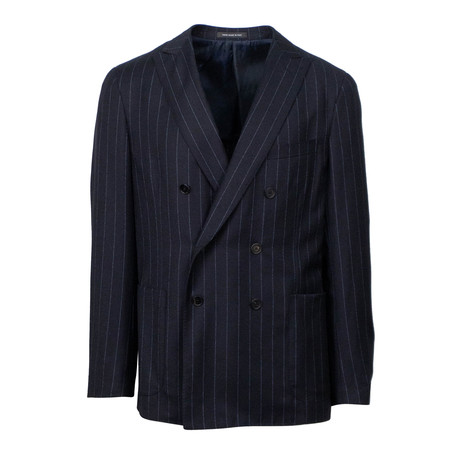 Wool Striped Double Breasted Slim Fit Suit // Blue (US: 44S)