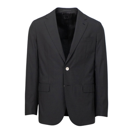 Wool Blend 3 Roll 2 Button Slim Fit Suit // Black (Euro: 44S)