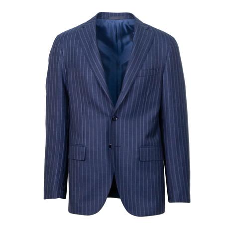 Striped Wool 2 Button Slim + Trim Fit Suit // Blue (Euro: 44S)