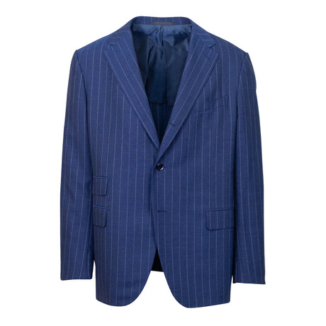 Striped Wool 3 Roll 2 Button Portly Fit Suit // Blue (US: 44S)