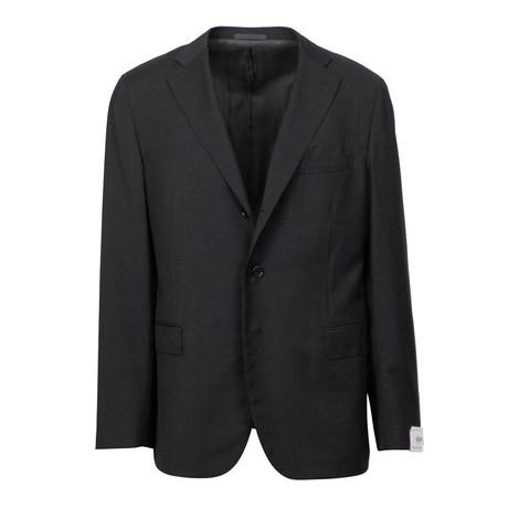 Wool 3 Roll 2 Button Slim + Trim Fit Suit // Black (Euro: 44S)
