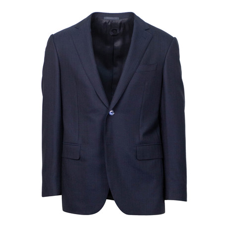 Wool Striped 2 Button Classic Fit Suit // Blue (US: 44S)