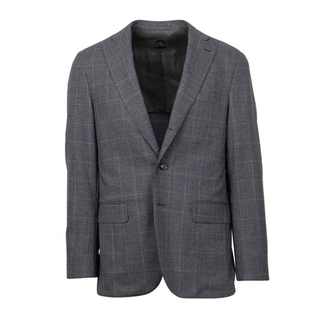 Check Wool 3 Roll 2 Button Slim + Trim Fit Suit // Gray (US: 44S)