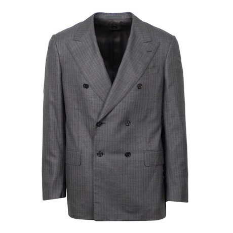 Herringbone Cashmere Double Breasted Slim Fit Suit // Gray (Euro: 44S)