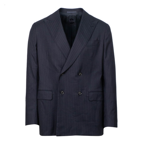Striped Wool Double Breasted Slim Fit Suit // Blue (US: 44S)