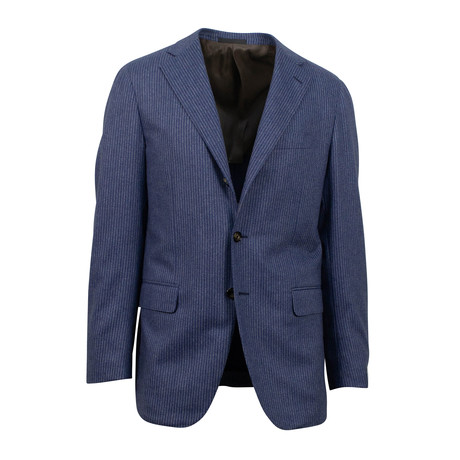 Striped Wool 3 Button Suit // Blue (Euro: 44S)