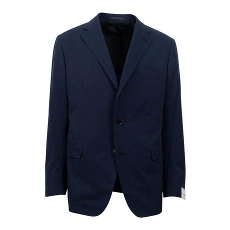 Cotton 3 Roll 2 Button Slim Fit Suit // Blue (Euro: 44S)