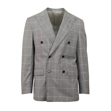 Check Wool Blend Double Breasted Suit // Gray (Euro: 44S)