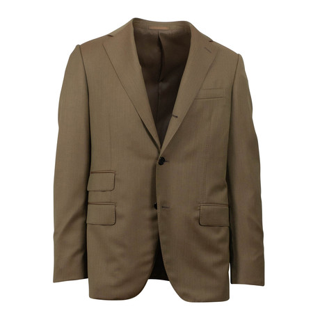 Herringbone 3 Roll 2 Button Classic Fit Wool Suit // Tan (Euro: 44S)