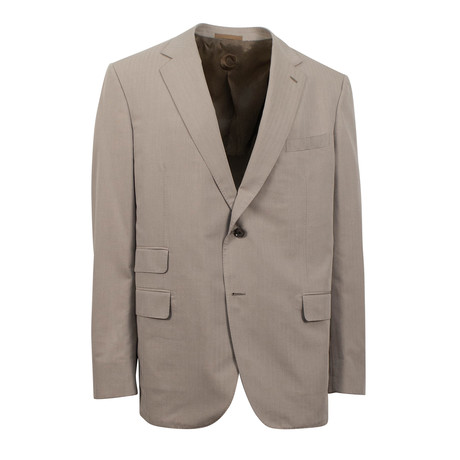 Herringbone Cotton Blend Two Button Suit // Beige (Euro: 44S)