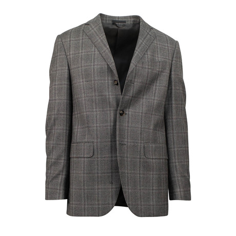 Plaid Wool Blend 3 Roll 2 Button Classic Fit Suit // Gray (Euro: 44S)