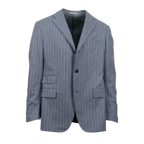 3 Roll 2 Button Trim Fit Wool Suit // Blue (Euro: 44S)