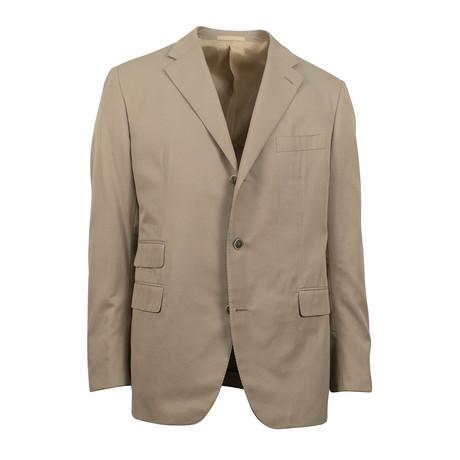 3 Button Slim Fit Cotton Suit // Tan (Euro: 44S)