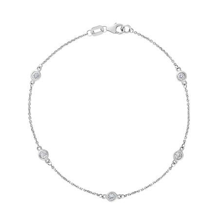 Estate 14k White Gold Diamond by the Yard Bracelet