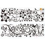 Black Flower Vine + Butterfly Wall Sticker