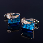 Exclusive Cufflinks + Gift Box // Exclusive Gold + Light Blue Squares