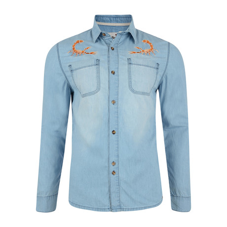 Peyote Denim Shirt + Scorpion Embroidery // Stone Wash (S)