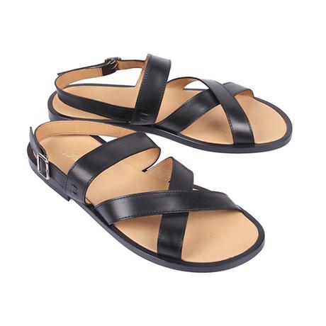 Leather Strap Sandal // Black (Euro: 39.5)