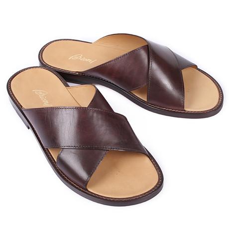 Cross Strap Sandal // Brown (Euro: 39.5)