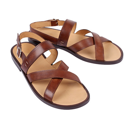 Leather Strap Sandal // Brown (Euro: 39.5)