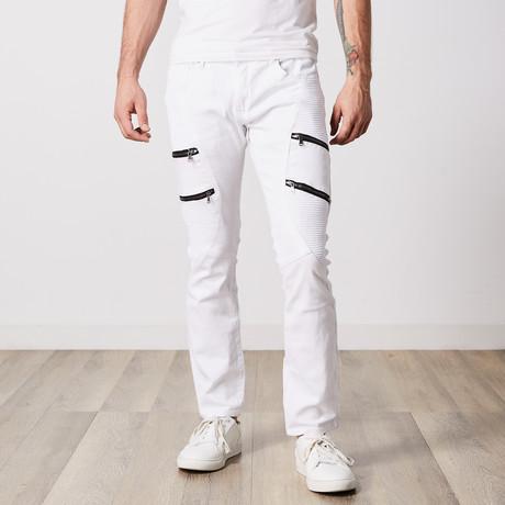 Zipped Moto Jeans // White (30WX30L)