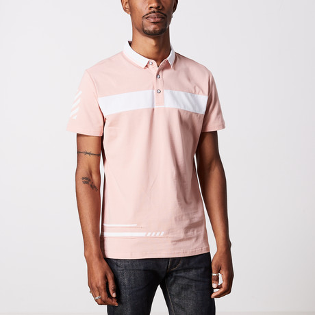 Striped Polo Shirt // Dusty Pink + White (L)