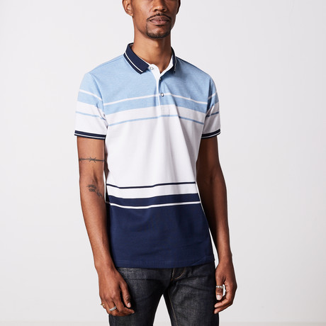 Striped Polo Shirt // Navy + Blue + White (M)