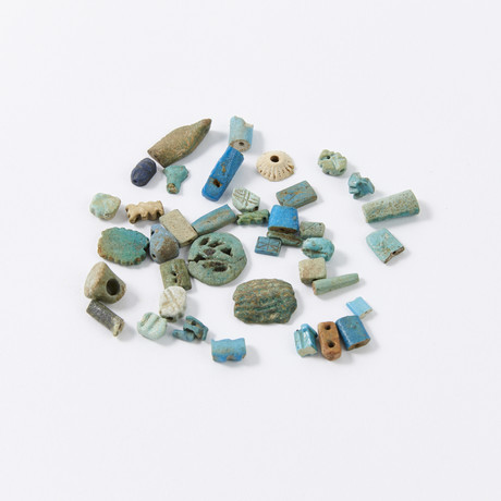 Group of Egyptian Faience Amulets & Fragments // Collected 1913-1915