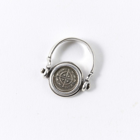 Crusader Coin // 1131-1142 AD // Set In Silver Swivel Ring