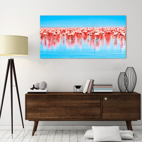 Flamingo Flock // Reverse Printed Tempered Art Glass