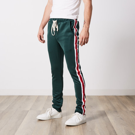Benjamins Taped Track Pants // Green + Red (S)