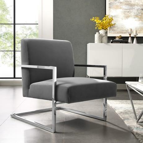 Santana Velvet Accent Chair (Gray + Chrome)