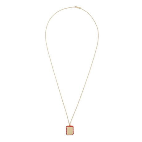Stainless Steel Minimalist Red Pendant Necklace // 14K Gold Plating