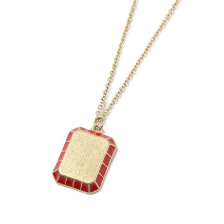 Minimalist Red Pendant Necklace // 14K Gold Plated + Stainless Steel