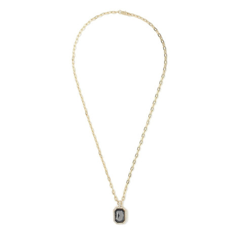Stainless Steel Emerald Cut Black Sapphire Necklace // 14K Gold Plating